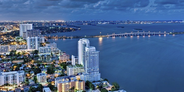 Aerial View of Biscayne Bay at Night