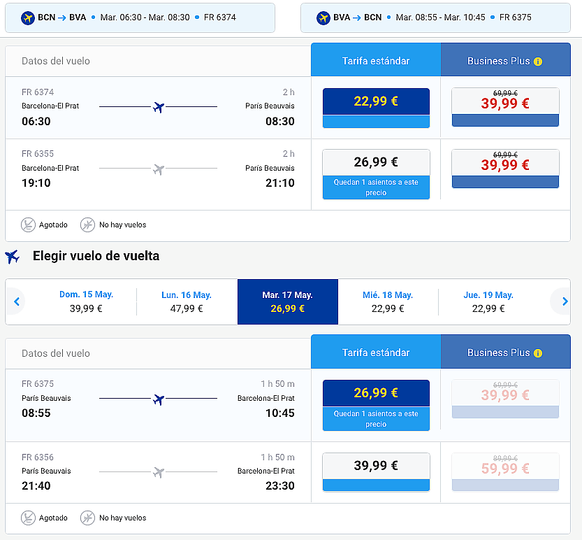 Ryanair Barcelona Paris