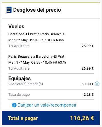 Vuelo RyanAir Barcelona Paris Costo total