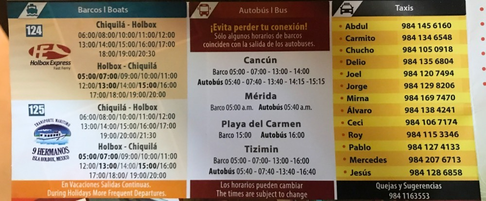 Horario ferry holbox chiquila